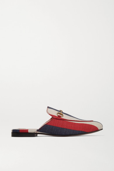 Gucci Shoes Princetown horsebit-detailed striped canvas slippers