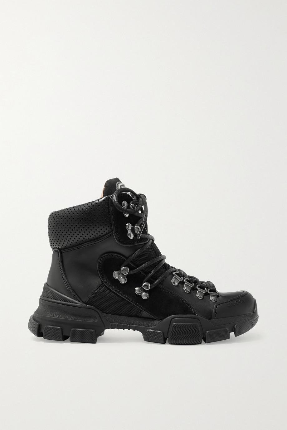 Gucci Flashtrek logo-appliquéd suede, leather and canvas ankle boots