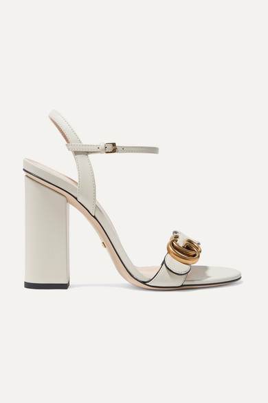 Marmont Logo Embellished Leather Sandals by Gucci