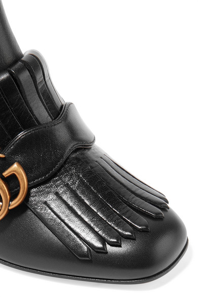 92c4345808fc Shoptagr | Marmont Fringed Logo Embellished Leather Ankle Boots by Gucci