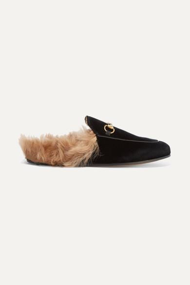 0faffd2b742 Gucci. Princetown horsebit-detailed shearling-lined velvet slippers