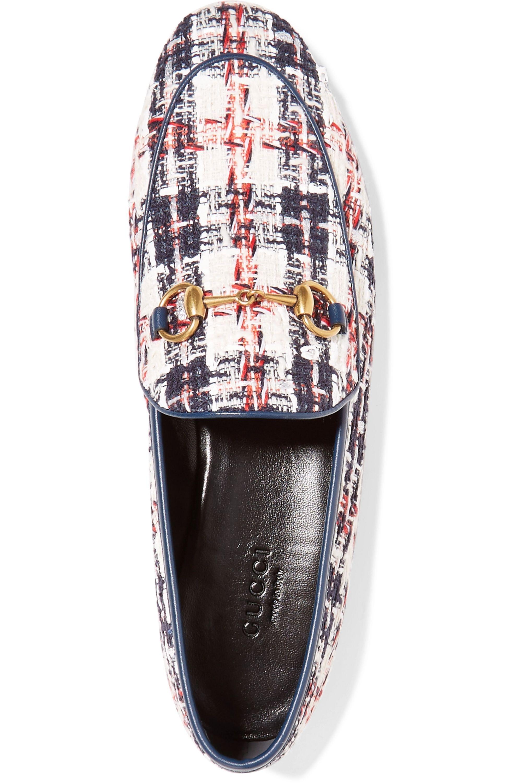 Gucci Jordaan horsebit-detailed leather-trimmed tweed loafers