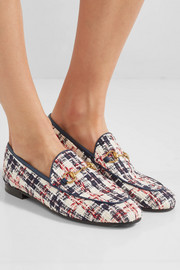 Gucci Jordaan horsebit-detailed leather-trimmed tweed loafers