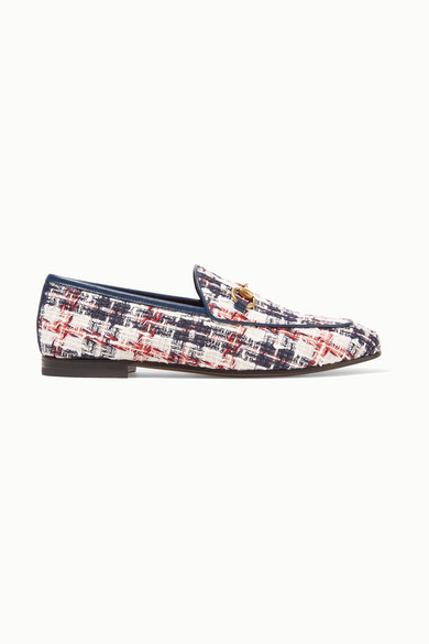 Jordaan Horsebit Detailed Leather Trimmed Tweed Loafers by Gucci