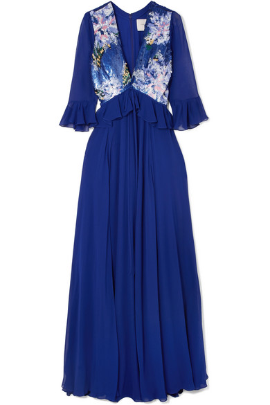 Carolina Herrera - Sequin-paneled Silk-georgette Gown - Royal blue