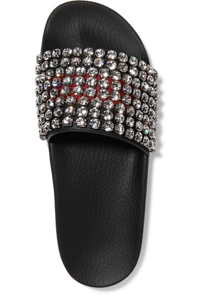 f3f12b9af8d Pursuit crystal-embellished leather and rubber slides.  1