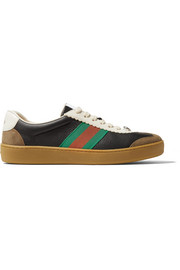 Gucci G74 textured-leather and suede sneakers