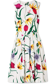 Carolina Herrera Pleated floral-print cotton-blend faille dress