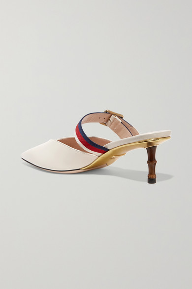 b82e6f85830 Gucci. Grosgrain-trimmed leather mules.  850. Zoom In