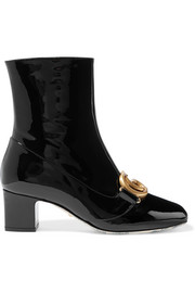 Victoire logo-embellished patent-leather ankle boots