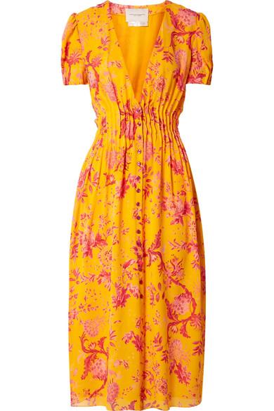 CAROLINA HERRERA Pintucked Floral-Print Silk Crepe De Chine Midi Dress in Yellow