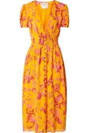 Carolina Herrera Pintucked floral-print silk crepe de chine midi dress