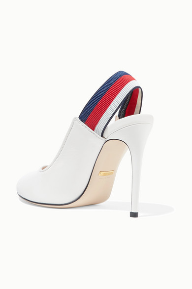 500a2fd35ac Gucci. Sylvie grosgrain-trimmed leather slingback pumps.  670. Zoom In