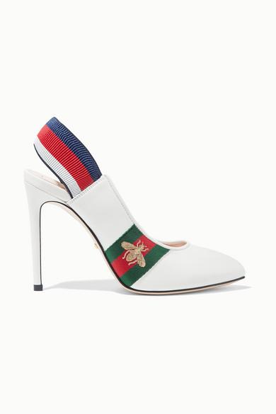 Gucci Pumps Sylvie grosgrain-trimmed leather slingback pumps
