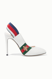 Gucci Sylvie grosgrain-trimmed leather slingback pumps