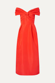 Carolina Herrera Off-the-shoulder knotted silk-faille midi dress