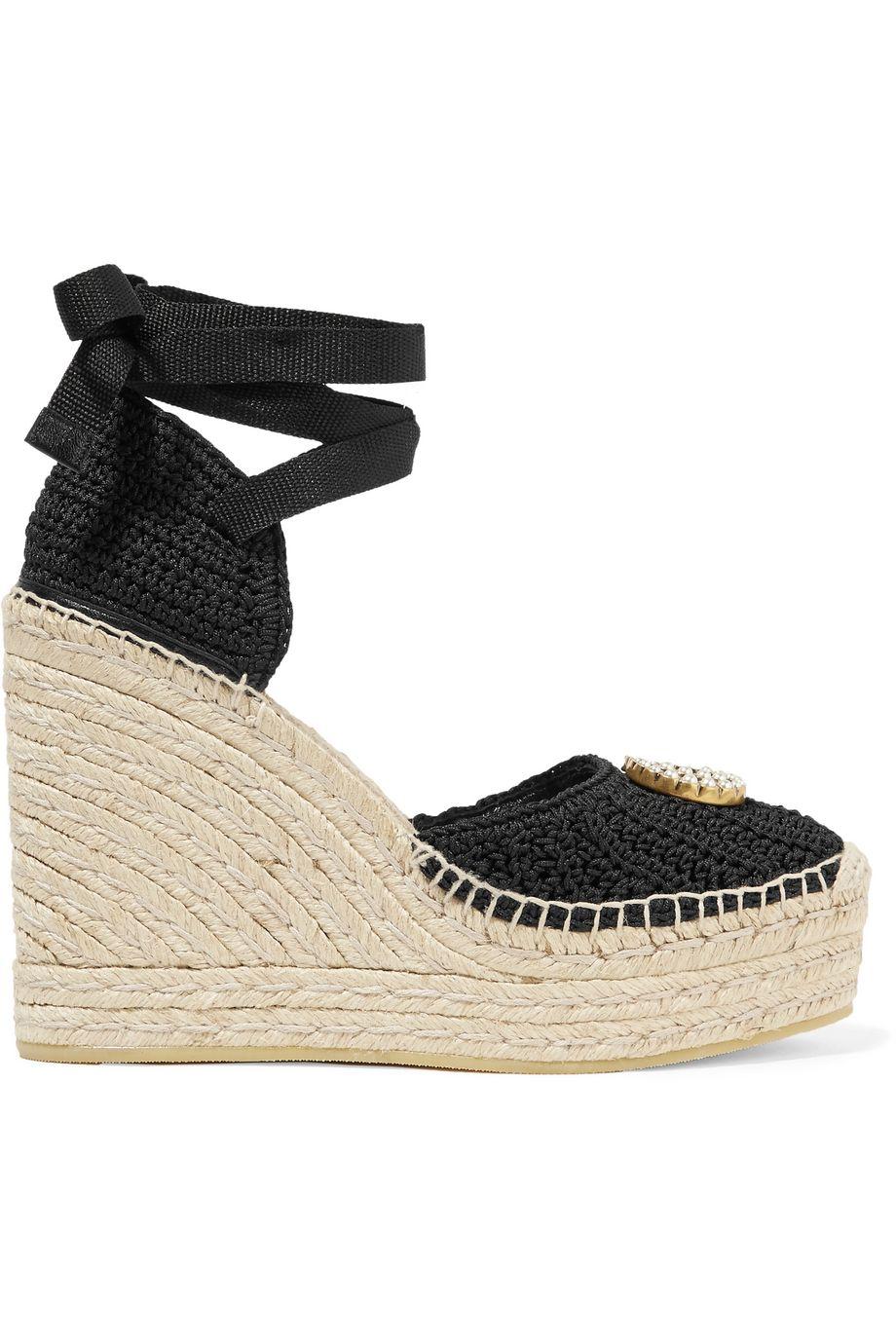 Gucci Lilibeth logo-embellished crocheted cotton wedge espadrilles