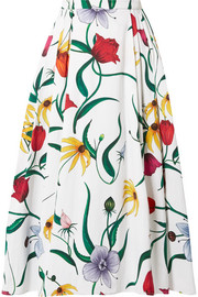 Carolina Herrera Pleated floral-print cotton-blend faille midi skirt
