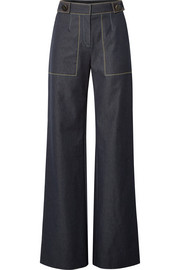 Carolina Herrera Button-embellished high-rise wide-leg jeans