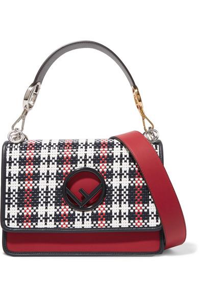 Fendi - Kan I Woven Leather Shoulder Bag - Red