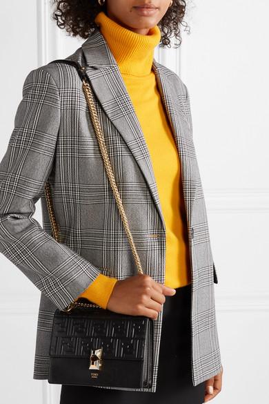 Kan I Small Embossed Leather Shoulder Bag by Fendi