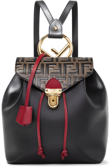 Embossed And Textured Leather Backpack by Fendi