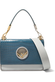Fendi Kan I python-trimmed leather and crocodile shoulder bag