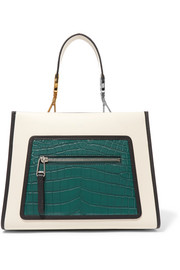 Fendi Runaway small leather and crocodile tote