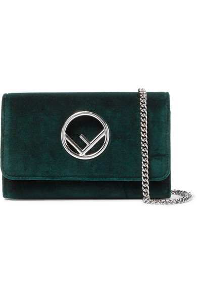 Fendi - Velvet Shoulder Bag - Emerald