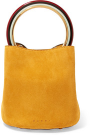 Pannier small suede bucket bag