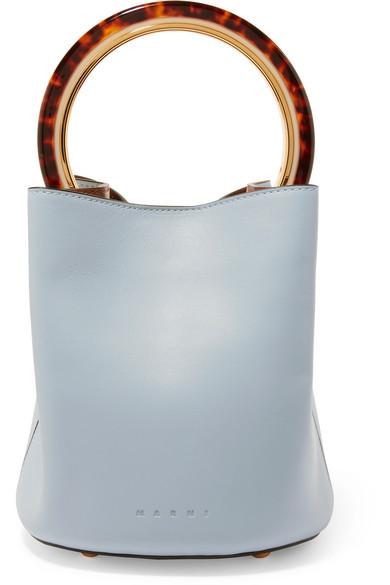Pannier Small Leather Bucket Bag, Light Blue