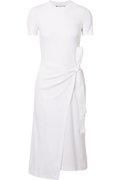Draped Canvas-Trimmed Cotton-Jersey Tunic in White