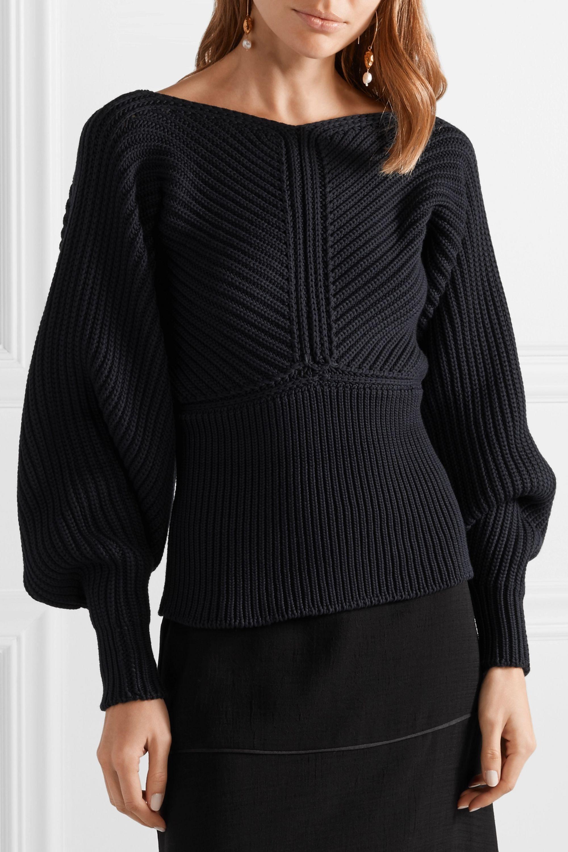 Rosetta Getty Wrap-effect ribbed-knit sweater