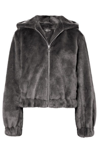 Hemut Ang Grey Faux Fur Hooded Bomber Jacket Grey