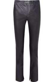 Leather slim-leg pants
