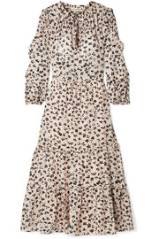 Fantine ruffled printed cotton and silk-blend gauze midi dress
