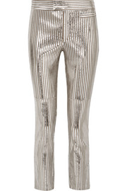 Isabel Marant Novida metallic striped leather skinny pants