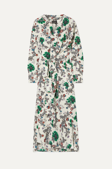 Calypso Floral-Print Silk-Blend Crepe De Chine Wrap Dress, Ecru