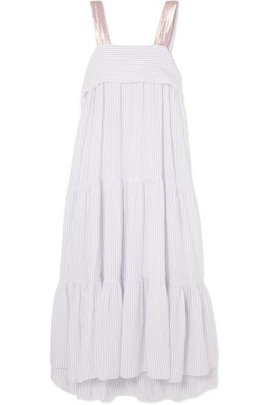Bess Lurex-trimmed pinstriped cotton-blend voile midi dress