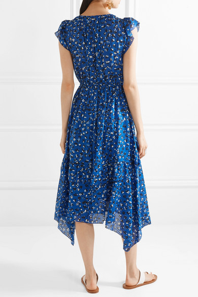 Aurelie Asymmetric Floral Print Cotton And Silk Blend Midi Dress by Ulla Johnson
