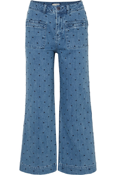 Niko Embroidered Polka-Dot High-Rise Flared Jeans in Mid Denim