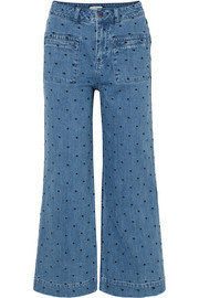 Niko embroidered polka-dot high-rise flared jeans