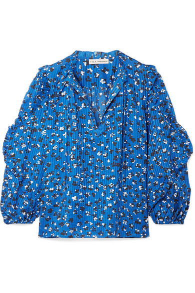 Ulla Johnson - Lillian Ruffled Floral-print Cotton And Silk-blend Blouse - Blue