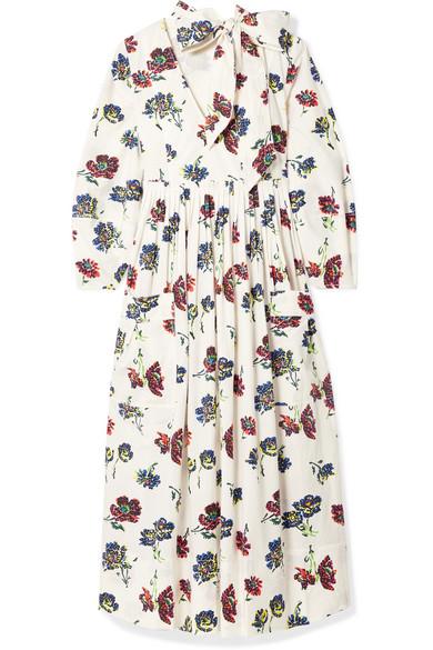 ULLA JOHNSON Isabeau Pleated Floral-Print Cotton-Poplin Midi Dress in White