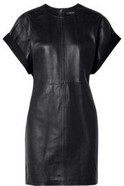 Isabel Marant Costa jersey-trimmed leather mini dress