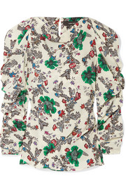 Crem ruched floral-print stretch-silk crepe de chine blouse