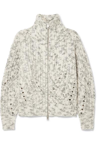 Janet High-Neck Zip Jacket, Size Fr40, Women, Ivory