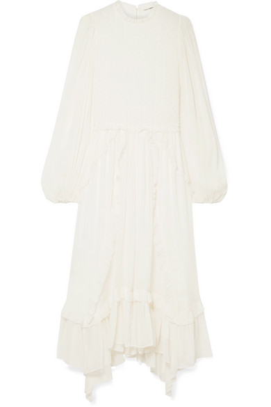 Arielle ruffled and crinkled silk-crepon dress