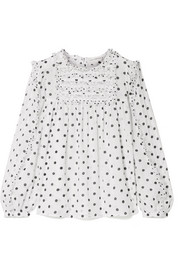 Ulla Johnson Bailey lace and tulle trimmed polka-dot voile blouse