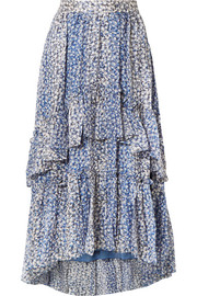 Ulla Johnson Maria ruffled metallic floral-print silk-blend georgette skirt